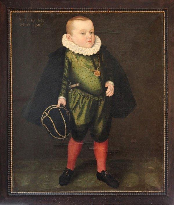 Nicolas Juvenel: Bildnis des Balthasar IV. Paumgartner 1589, bezeichnet: 'AETATIS 4. / ANNO 1589', Öl auf Leinwand, 111 cm hoch x 97 cm breit Leihgabe aus Privatbesitz