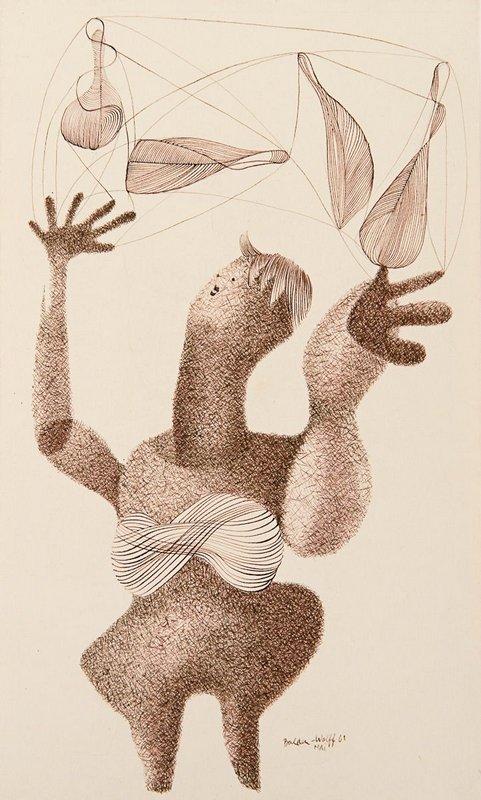 Annemarie Balden-Wolff: Jongleur, 1961 Zeichnung, Tusche auf Papier 33 x 19,7 cm Nachlass Annemarie Balden-Wolff © VG Bild-Kunst, Bonn 2015 © Erben und Rechtsnachfolger