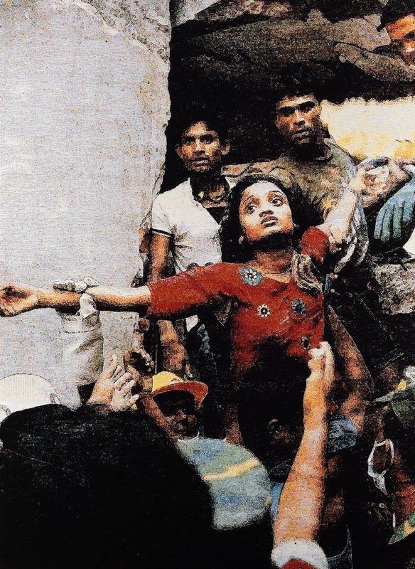 Barbara Broekman: Bangladesch Jacquard-Gewebe, 205 x 148 cm Foto vom Museum Rijswijk zur Verfügung gestellt