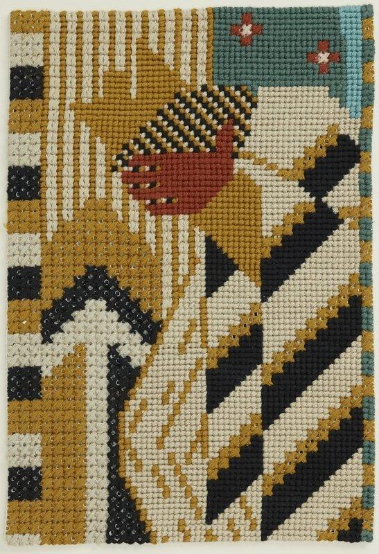 Ferdinand Nigg: Der König aus der Georgslegende undatiert, Woll- und Baumwollstickerei auf Stramin, 27 x 19 cm Privatbesitz Foto: Heinz Preute