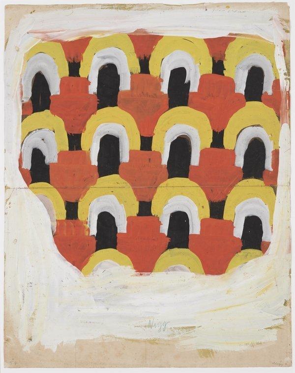 Ferdinand Nigg: Musterentwurf 1903–1912 (Magdeburger Zeit), Gouache auf Papier, 58,5 x 46 cm Kanonikus Anton Frommelt-Stiftung, Vaduz Foto: Heinz Preute