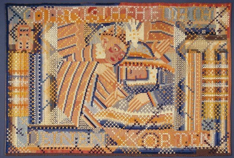 Ferdinand Nigg: Verkündigung (Mir geschehe nach Deinen Worten) 1919/1920, Wollstickerei auf Stramin, 110 x 160 cm Gemeinde Schaan Foto: Heinz Preute
