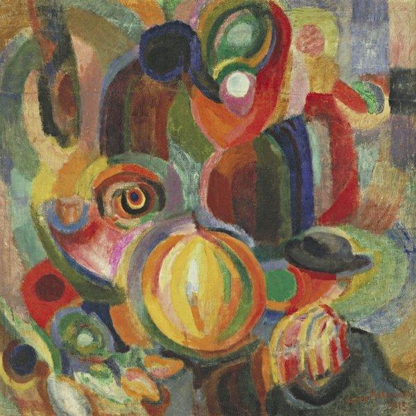 Sonia Delaunay: Portugiesischer Markt 1915, Öl und Wachsfarbe auf Leinwand, 90.5 x 90.5 cm Digital image, The Museum of Modern Art, New York/Scala, Firenze