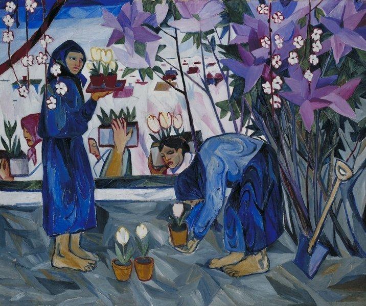 Natalja Sergejewna Gontscharowa: Gartenarbeit 1908, Öl auf Leinwand, 102.9 x 123.2 cm Foto: © Tate, London 2015, VG Bild-Kunst, Bonn 2015