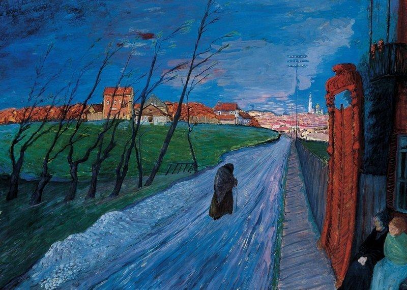 Marianne von Werefkin: Stadt in Litauen 1913/14, Tempera auf Karton, 56,5 x 71,5 cm Fondazione Marianne Werefkin Museo Comunale d'Arte Moderna, Ascona
