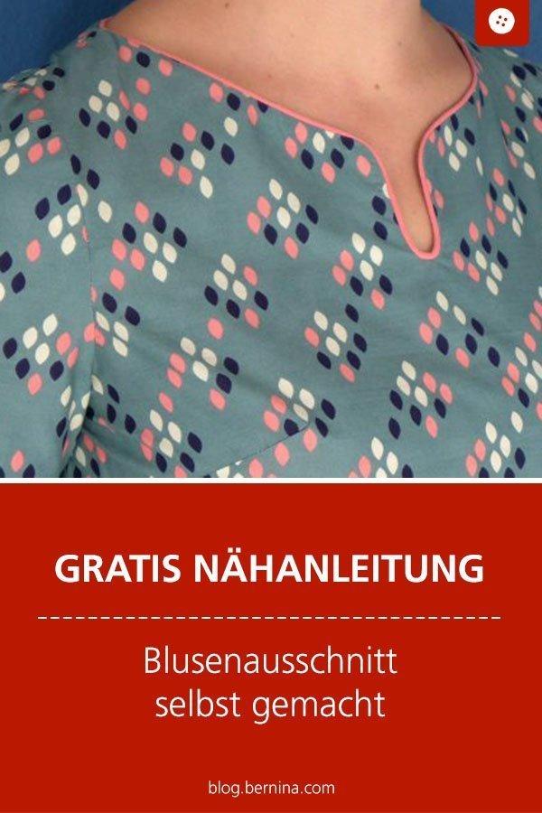 Kostenlose Nähanleitung für einen schicken Blusen-Ausschnitt #bluse #ausschnitt #elegant #frauen #kleidung #nähen #tutorial #freebook #freebie #kostenlos #nähanleitung #diy #bernina #sewing