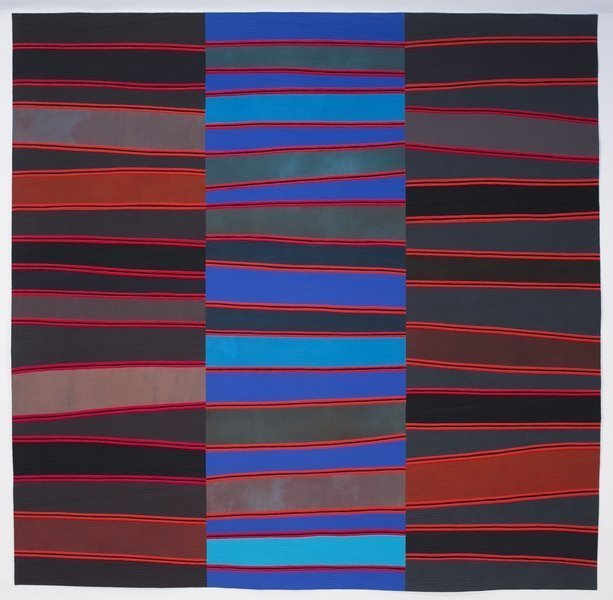Nancy Crow (USA): Silence: Seeking Solitude #5 Maschinengenäht von Nancy Crow, Baumwolle, 2015 93 x 95.5 in. Foto: J. Kevin Fitzsimons