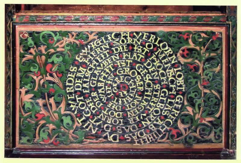 Gerechtigkeitsspirale, Flachschnitzerei vom Laiengestühl der Pfarrkirche St. Valentin, Kiedrich gefertigt von Erhart Falckener, 1510 Foto vom Bischöflichen Dom- und Diözesanmuseum freundlicherweise zur Verfügung gestellt