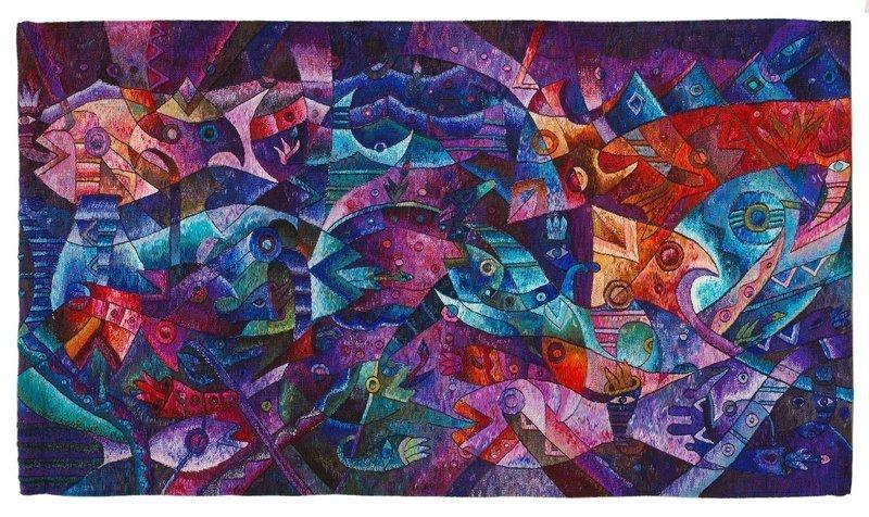 Máximo Laura (Peru): Danza Real de los Peces (Royal Fish Dance) Webteppich, 2005 48 x 94.5 in.