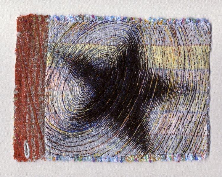 Tom Lundberg (USA): Shirt Fragment Baumwolle-, Seiden- und Polyesterfäden auf Baumwolle und Leinen, 2012 6.25 x 8 in.