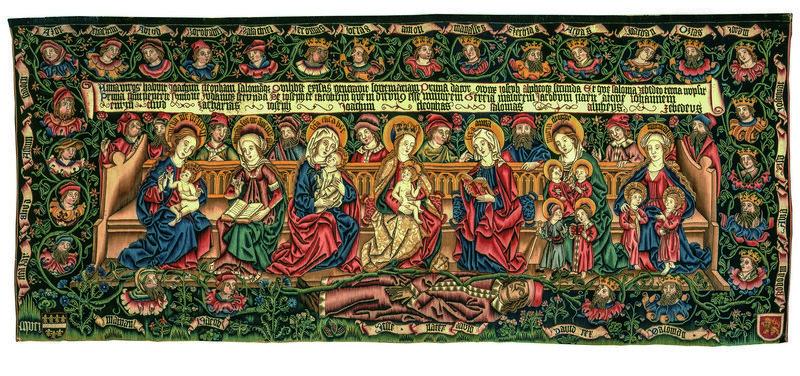 Sippenteppich Mittelrhein, um 1501 Kette: Leinen, Schuss: Wolle, Gold- und Silberfäden, 175 x 404 cm © Mainz, Bischöfliches Dom- und Diözesanmuseum Mainz