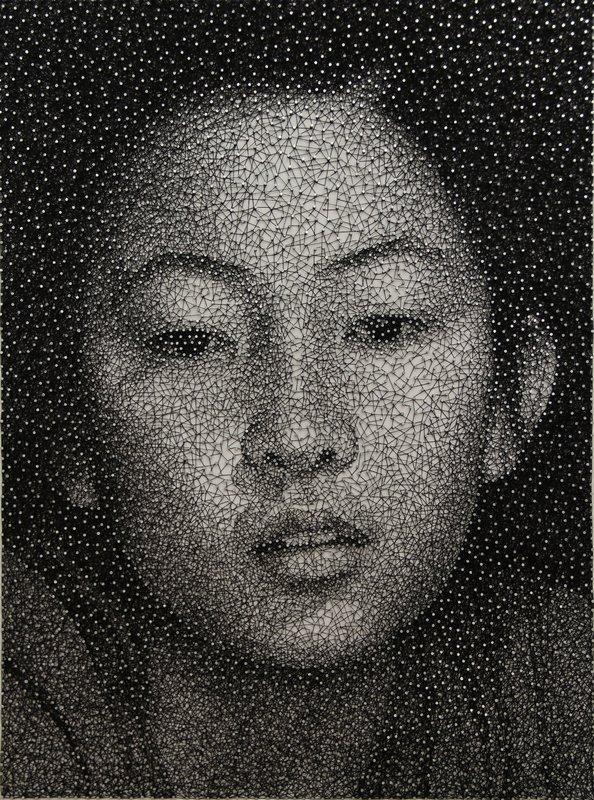 Kumi Yamashita (USA): Constellation - Mana Holzplatte, galvanisierte Metallstifte, einzelner schwarzer Nähfaden, 2011