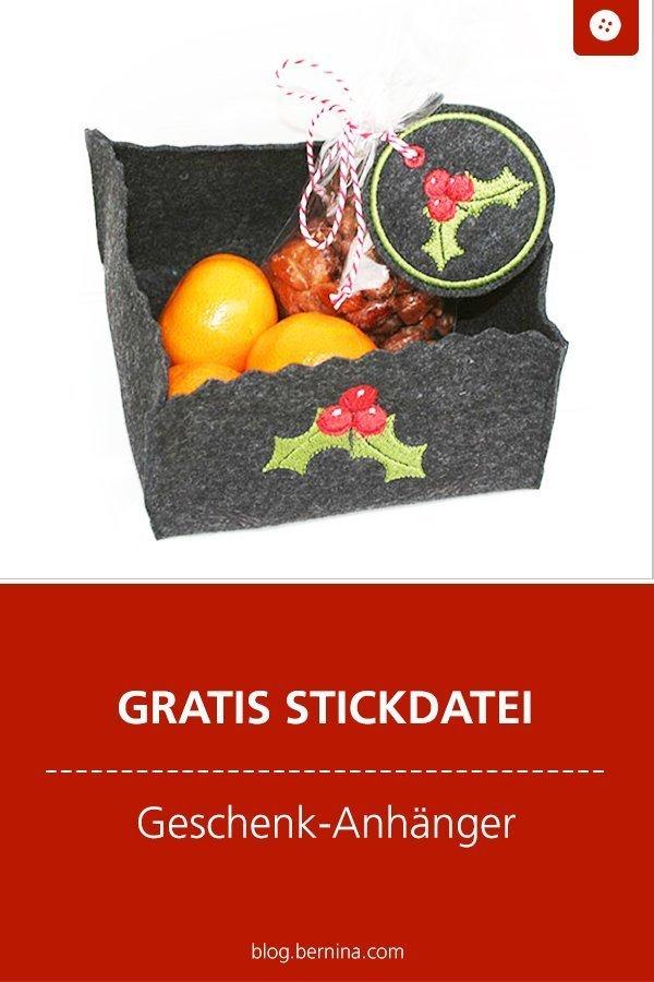 Gratis Stickdatei: Geschenkanhänger Weihnachten Freebie #stickdatei #stickmuster #stickvorlage #weihnachten #geschenk #cooking #nähen #bernina #vorlage #diy #tutorial #freebie