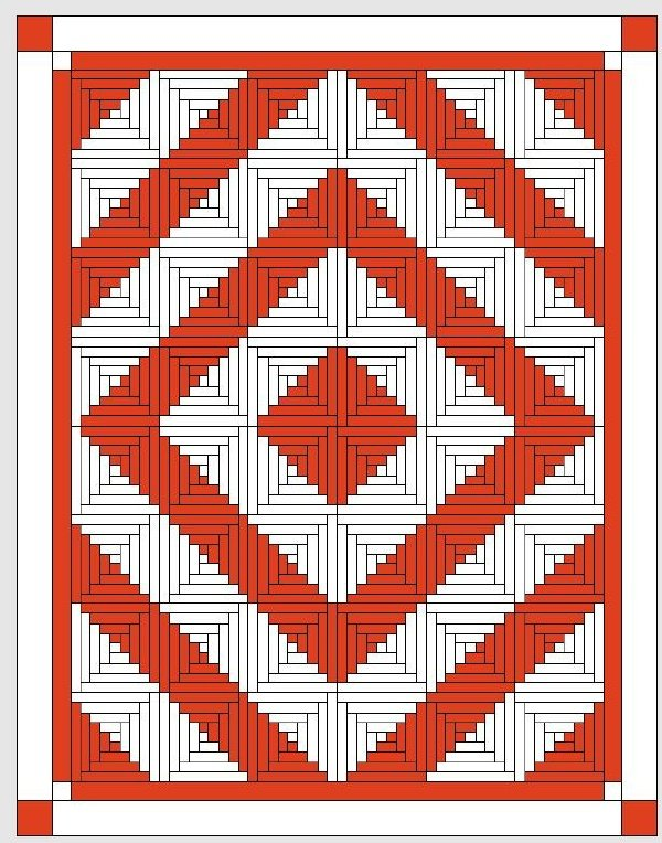 Red and White Quilts: Logcabinmusterrot-weiß (2)