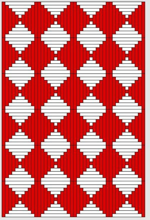 Red and White Quilts: Logcabinmuster (2)