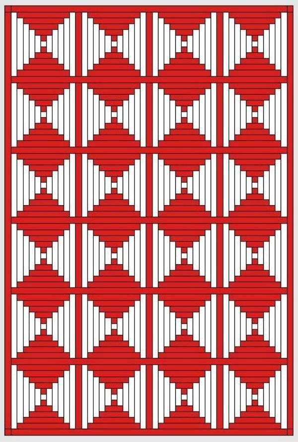 Red and White Quilts: Logcabinmuster