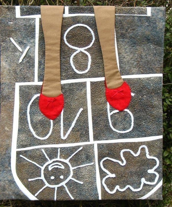 Austellung 'Von oben gesehen' Quilt von Helga Egly Foto freundlicherweise von Pia Welsch zur Verfügung gestellt