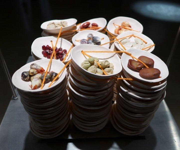 Michela Torricelli (CH): Inseminazione Alimentare Porzellan, BW-Faden, echte Samen Miniartextil 2016