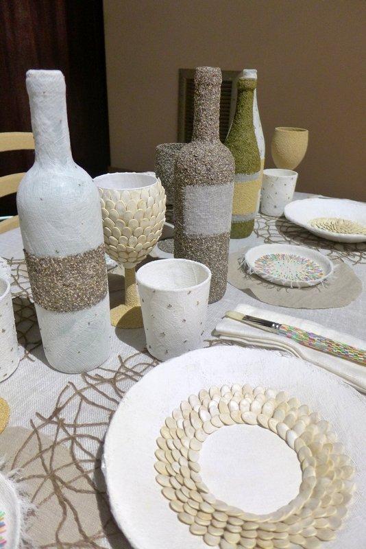Antonio Bernardo (I): L'Apparecchiato Tavolo, Detail Installation begeleitend zur Ausstellung 'Miniartextil 2016'