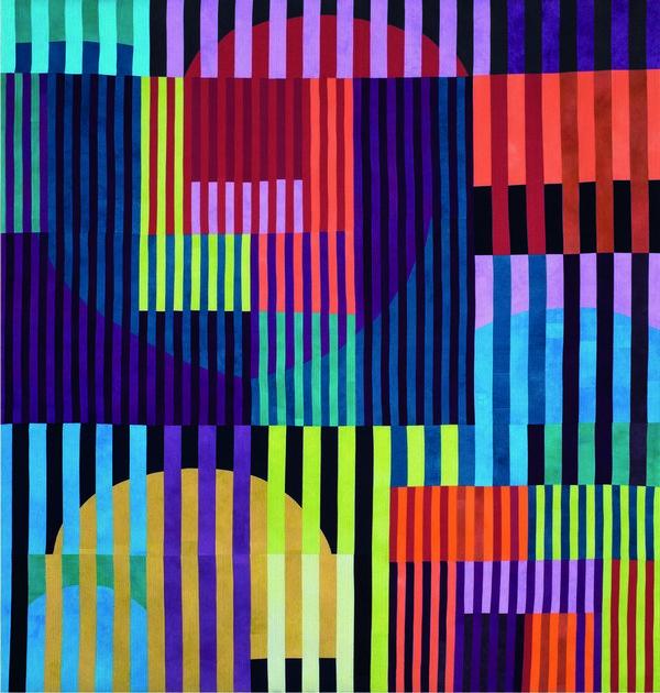 Ruth Bosshart-Rohrbach (CH): Vibrant Color Bars 2015, 207 x 218 cm Foto: vom Museum Tuch + Technik zur Verfügung gestellt