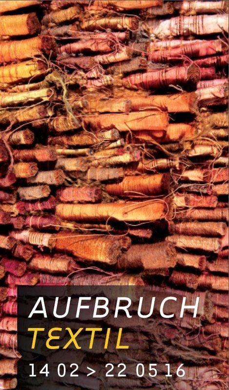 Titel der Einladungskarte: Peter und Ritzi Jacobi: Rotes Textilrelief, 1975