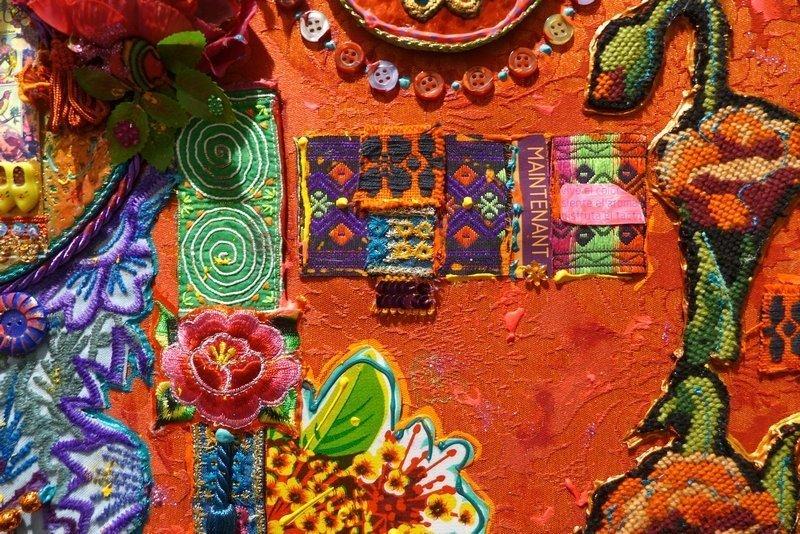 Blick in die Ausstellung 'Imbroglios Textiles', Detail Christine Fayon (Frankreich) l'aiguille en fête 2016
