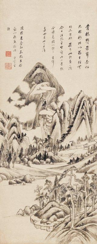 Dong Qichang (geb. 1555), Landschaft im Stil von Don Yuan, datiert 1625 Hängerolle, Tusche auf Papier, 180 x 43,5 cm © Museum Rietberg Zürich, Foto: Rainer Wolfsberger