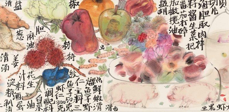 Li Jin (geb. 1958) Lebensmittel und Gerichte, Nr. 2 Querrolle, Tusche und Farben auf Papier, 26 x 470 cm, 2008 © Li Jin, Collection Gérard et Dora Cognié, Genf, courtesy of the artists
