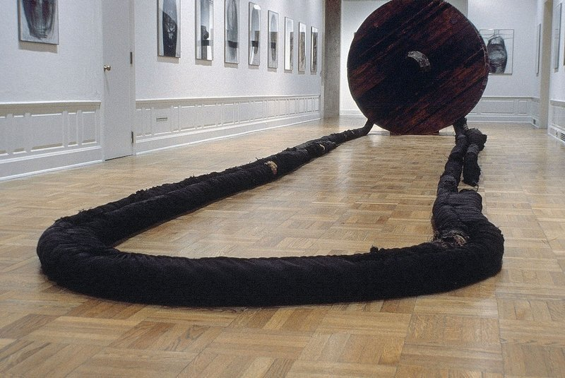 Magdalena Abakanowicz: Wheel with Rope 1973, Wood, burlap, hemp, metal line 2 wheels, diameter each: 7 ft 8 1/8 in / 2.34 m 2 ropes, each approx: 190 ft / 58 m National Museum in Wrocław, Poland © Magdalena Abakanowicz Courtesy Marlborough Gallery, New York