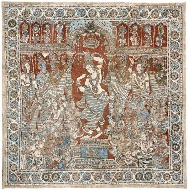 Kalamkari. Tempeltuch aus Sikkinaickenpet, Tamil Nadu, frühes 20. Jahrhundert, 269 x 252 cm, Inv.-Nr.: 7197. Foto: Völkerkundemuseum der Universität Zürich
