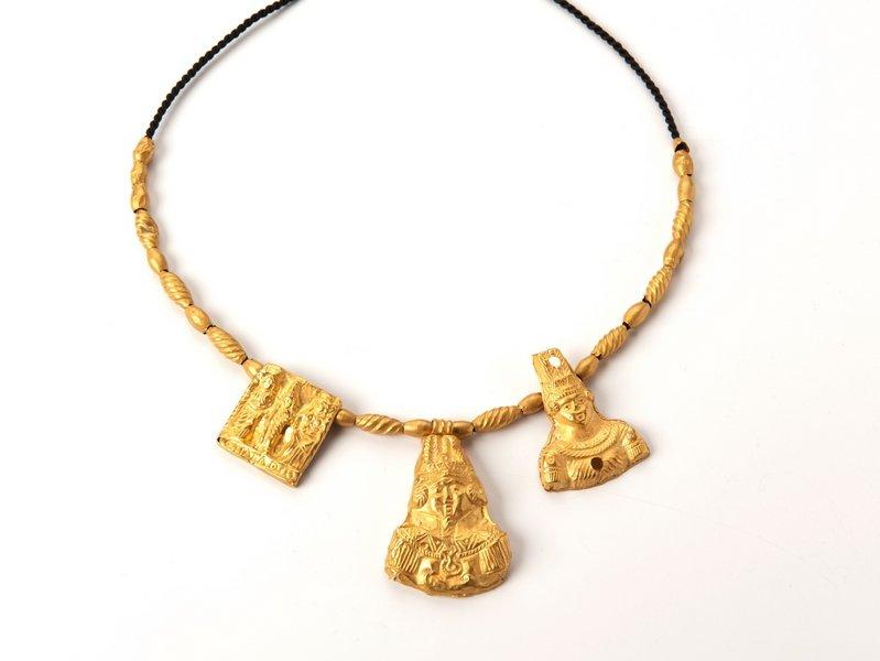Amulettkette Gold, ägyptisch, koptisch (?), 3. - 4. Jh. v. Chr. © Schmuckmuseum Pforzheim Erworben mit Mitteln der forestadent | Bernhard Förster GmbH Pforzheim Foto: Petra Jaschke