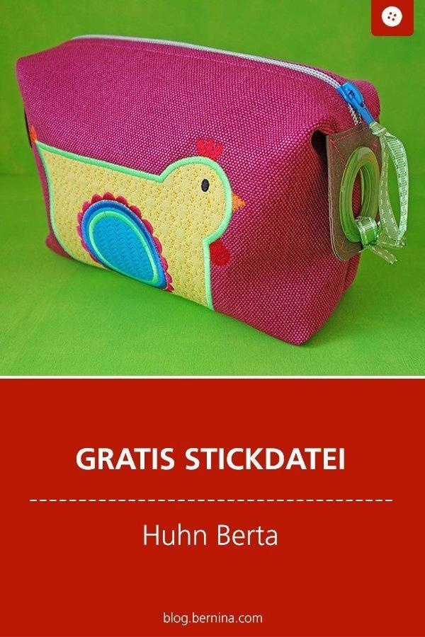 Gratis Stickdatei  – Huhn Berta für Ostern