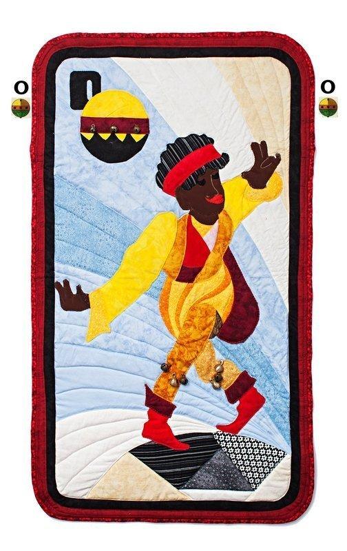 Beispiel für ein Schafkopf-Kartenmotiv Foto freundlicherweise von Christine Köhne, Quilt Et Textilkunst, zur Verfügung gestellt