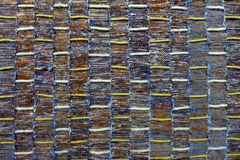 Olga de Amaral: Paisaje de Calicanto, Detail 1981, Leinen, Rosshaar, Wolle, Baumwolle Leihgabe Fondation Toms Pauli, Lausanne