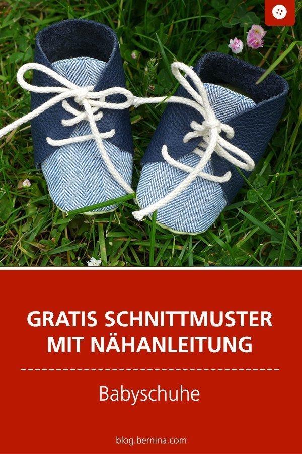 Kostenloses Schnittmuster mit Nähanleitung für süße Babyschuhe #schnittmuster #baby #geburt #kind #schuhe #hausschuhe #krabbelschuhe #nähen #bernina #nähanleitung #diy #tutorial