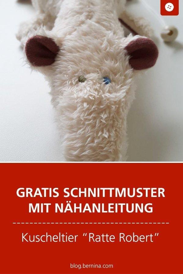 Kostenlose Nähanleitung mit Schnittmuster für das Kuscheltier Ratti Robert #tutorial #kinder #baby #spielzeug #geburt #kuscheltier #ratte #schnittmuster #nähen #nähanleitung #diy #bernina