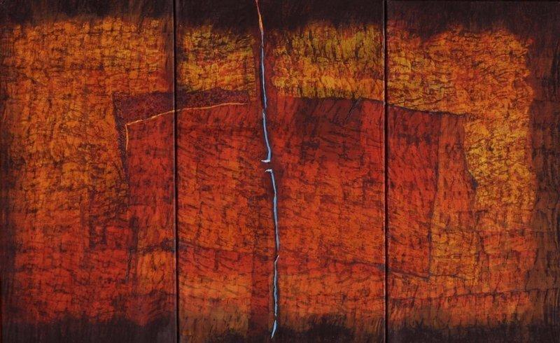 Joachim Blank: red roof 100x160cm, 2009, Batik auf Baumwolle und Organzaseide Foto: J. Blank