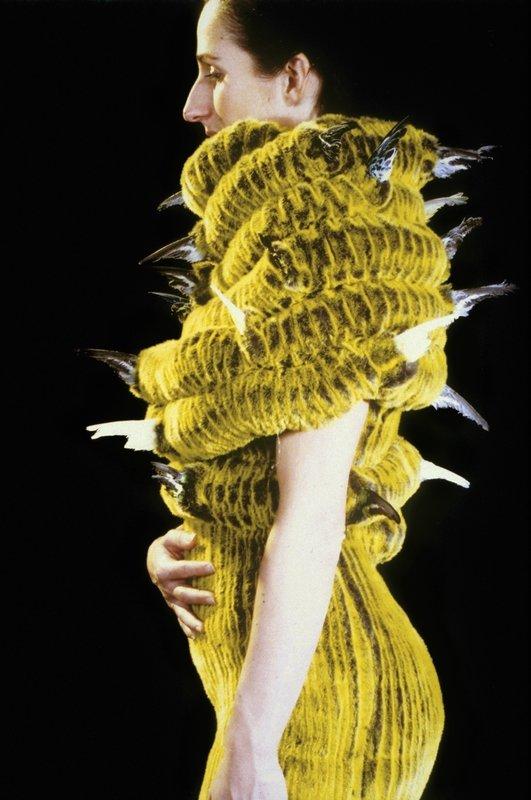 Alet Pilon: No title, aus der Serie 'After Future', 1999-2000 Kunstpelz, tierische Materialien, Papier, Stahl, weitere Materialien Sammlung TextielMuseum Tilburg (Inv. Nr.: BK0876b) Foto: Cord Otting