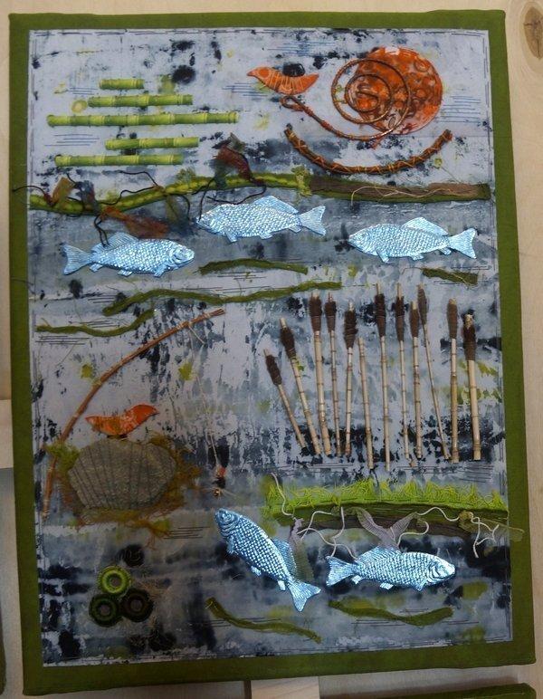 Monika Vogler: Ein Fischlein einst ... Ausstellung 'Bewegung - Textil interpretiert', hier 'Natur' Gruppe 'Forum Art Quilt e.V.' 7. Quiltfestival Luxembourg