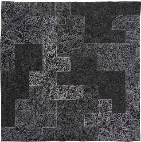 Cécile Trentini: Nocturnes aus der Serie 'Circonvolutions'. Spielregel: Die gesamte Fläche ist in zehn Bereiche aufgeteilt. Jeder Bereich besteht aus zehn Quadraten von 10 x 10 cm. Weiss und vier Grautöne von hell bis dunkel. Jeder Bereich ist mit circonvolutions in einer Farbe ausgefüllt.