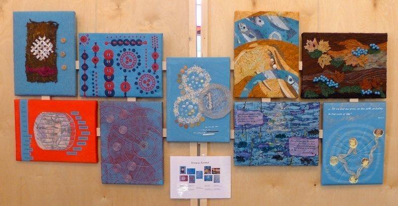 Blick in die Ausstellung 'Bewegung - Textil interpretiert', hier 'Kreislauf' Gruppe 'Forum Art Quilt e.V.' 7. Quiltfestival Luxembourg