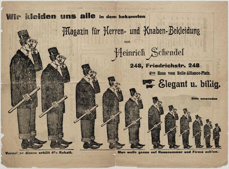 Werbeblatt des Magazins für Herren- und Knaben-Bekleidung von Heinrich Schendel, Berlin Berlin, um 1900 Druck, Papier, Blatt : H: 31,40 cm , B: 23,40 cm Inv.Nr.: GE 2003/134 QH a-c © Stiftung Stadtmuseum Berlin