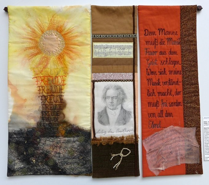 Christine Bünning: Beethovens Neunte Ausstellung 'Musik - Textil' Patchworktage 2016 in Celle