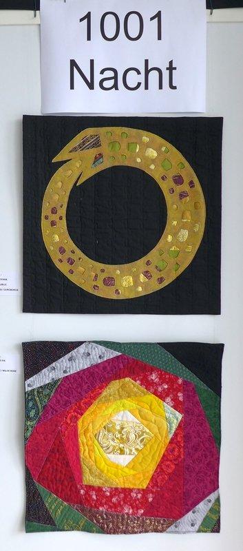 Ivana Brzakova (CZ): Ouroboros (oben), Iva Kucerova (Slowakei): Wilde Rose Ausstellung '1001 Nacht' Patchworktage 2016 in Celle
