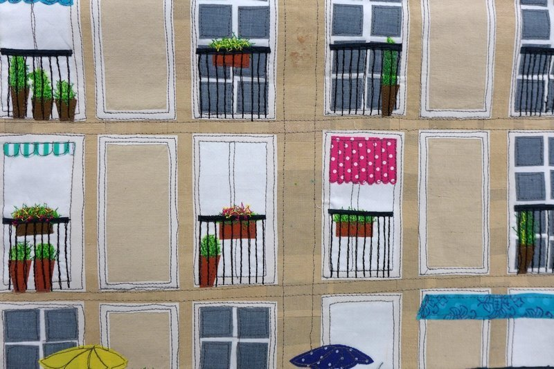 Gillian Travis: Le Havre, Detail Ausstellung 'International Threads' Patchworktage 2016 in Celle