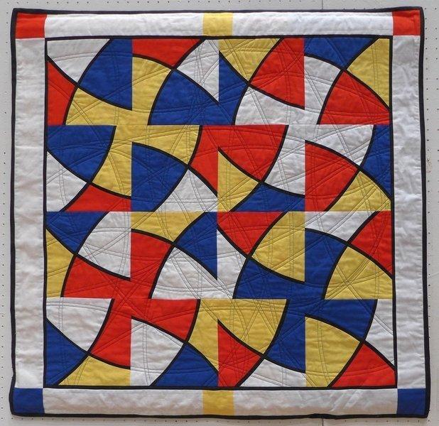 Anna Schneider: Swinging Mondrian Ausstellung 'Zertifikats-Quilts' der Absolventinnen der Kursleiterausbildung der Gilde Patchworktage 2016 in Celle