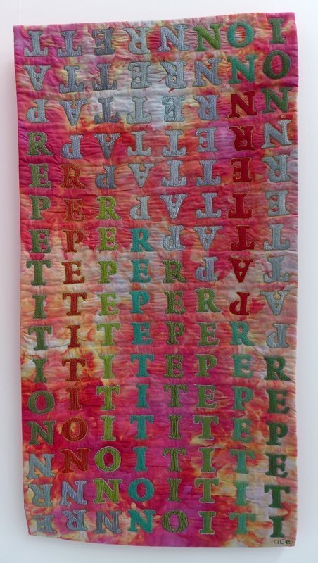 Uta Lenk: text messages 6 Ausstellung 'International Threads' Patchworktage 2016 in Celle
