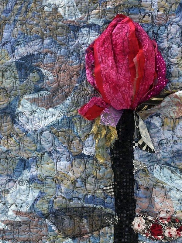 Renata Jurackova (CZ): Die Rose von Leipzig, Detail Ausstellung 'AugenBlicke' Patchworktage 2016 in Celle