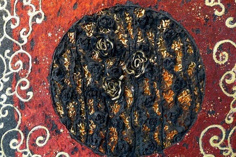 Juliette Eckel: Barocke Manipulation III, Detail Ausstellung '33 Momente des Glücks' 7. Quiltfestival Luxembourg