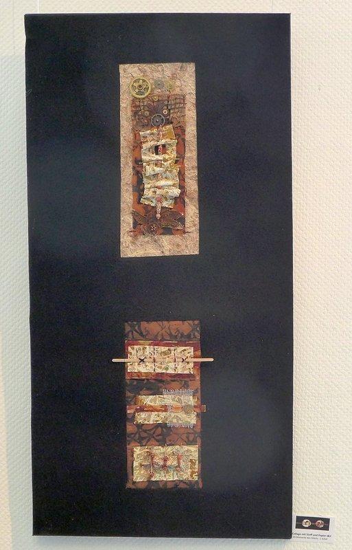 Juliette Eckel: Collage mit Stoff und Papier I und II Ausstellung '33 Momente des Glücks' 7. Quiltfestival Luxembourg